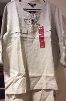 New Women's Tan Beige Tunic Shirt XL/L/1X Blouse Career $89 Hi Lo Linen Dressy