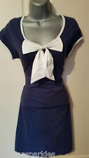 BNWT New NEXT Navy Blue White Bow Front Stretch T-Shirt Tunic Dress Top size 14