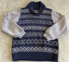 Osh Kosh Boys Gray Navy Blue Pullover Argyle Knit Sweater Sweatshirt Sleeves 8