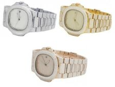 Mens Iced S.Steel Rose Yellow White Steel 40MM PP Simulated Diamond Watch