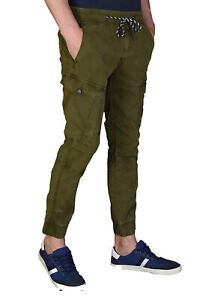 Men's Cargo Chinos Elasticated Trousers Casual Slim Fit Bottom Elasticated