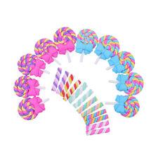 22 Pièces Kawaii Artisanat Slime Charm Lollipop avec Bow et Candy Clay