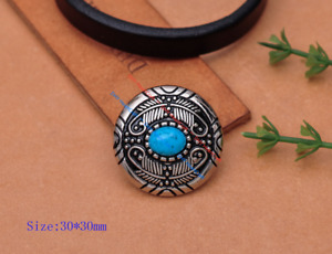 """5X Tribal Beauty FEATHER FLOWER TURQUOISE LEATHERCRAFT CONCHO 1-1/8"""" SCREW BACK"""