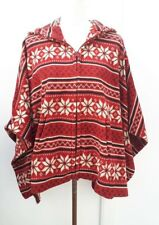 UNI QLO Ladies One Size Red Black Hooded Zip Fleece Poncho Cape Cardigan Curve