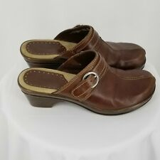 Bass Leona Size 8M Womens Brown Leather Slide Faux Buckle Clogs Mules Brazil