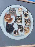 Vintage Framed Art Siamese Persian Tabby CAT Cross Stitch Embroidery OOAK ❤️sj3j
