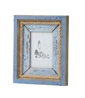 "Blue Nautical Sea Beach Coastal Distressed Wooden Rope Picture Photo Frame 3x5"""