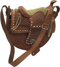 Brown Genuine Leather Western Style Horse Saddle Shoulder Bag Purse Hand Tooled