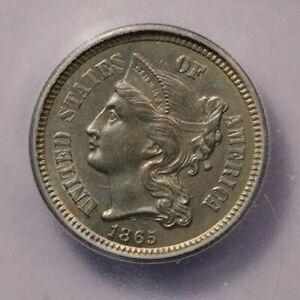 1865-P 1865 Three Cent Nickel ICG MS63