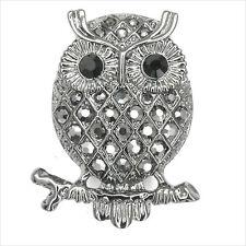 Owl Strigiformes Birds Pets Cocktail Rings Costume Jewelry Crystal Black Retro
