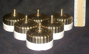 Vintage Brass & Ceramic Electric Switch button Cupcake Design One Way Set Of 6 #