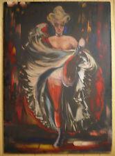 $795 OR BEST !! MYSTERY MODERNISM MODERN BURLESQUE DANCER, VINTAGE OIL MODERNIST