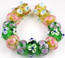 HANDMADE LAMPWORK GLASS BEADS Green Pink Purple Flower Loose Jewelry Craft