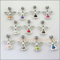 10Pcs Mixed Glass Beads Angel Frame Charms Bail Beads Fit Bracelets 29x34mm
