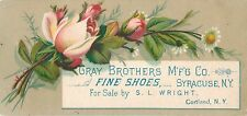 Victorian Tradecard, Gray Bros Shoes, For Sale by S.L. Wright, Cortland NY 1887