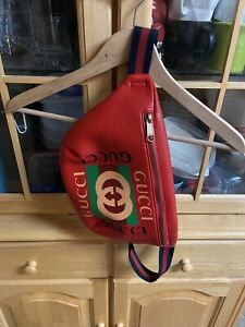Gucci GG Red Large Fanny Pack Waist Bag Unisex Zip Carrying Go Bag