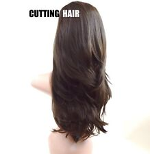 CUTTING HAIR - Chocolate Brown 3/4 Wig Long Straight Layer Half Wig 028-8