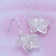 Ladies Retro  Style Silver Plated Flower Earring Earrings Party Jewelry 1 Pair