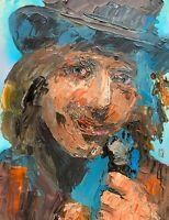 Original Abstract Tom Petty Mad Hatter Palette Knife Portrait Rock Music Art 14""