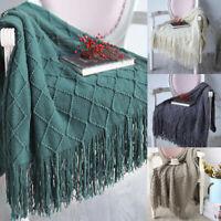 Soft Tassel Fringe Knitting Throw Rug Sofa Bed Couch Classic Blanket 127*170cm