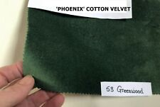 1 PAIR MADE TO ORDER GREEN WOOD COTTON VELVET, LINED CURTAINS. WIDE LONG BAY MTM
