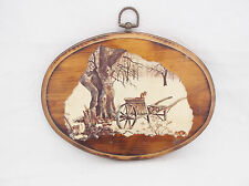 Decoupage Oval Wood Plaque-Squirrels/Tree/Wagon Snow-Signed DeBerney-9 1/2 X 7""