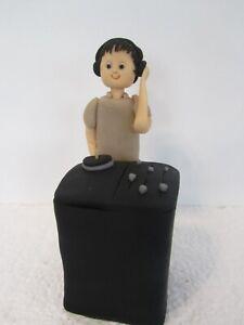 "DJ 5"" tall with his decks (3"" ) plus name tags, edible Birthday Cake Topper"