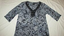 LE Bos 16W womens Blouse Top Gray black blue floral stone stretch 3/4 sleeve