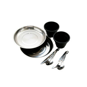 11pc Ozark Trail 2 Person Stainless Steel Table Setting & Cups Camping Picnic