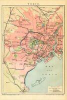 1898 TOKYO = Antica MAPPA Topografica = OLD MAP