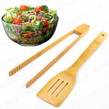 2pc Real Bamboo Salad Serving Tongs & Spoon Food Dinner Vegetable Wood Utensils