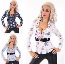 Damen langarm Bluse Hemd Shirt Top Tunika Stretch Blumen Muster Rüschen Gürtel