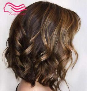 100% Human Hair New Fashion Gorgeous Short Natural Brown Wavy Women's Full Wigs