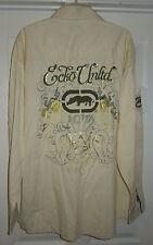 Ecko Unltd Men's Long Sleeve Shirt Size 2XL Yellow Button Up Embroidered