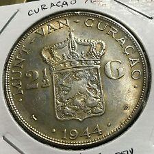 1944  NETHERLANDS  CURACAO SILVER 2 1/2 GULDEN NICE CROWN COIN