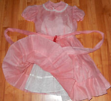 VINTAGE 1940s  GORGEOUS GIRLS ORGANDY PINK DRESS WITH WHITE CRINOLIN SLIP SZ 6-8