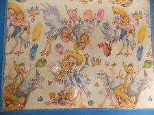 Vintage Baby Shower Stork Balloons American Greetings Giant Sheet Gift Wrap New