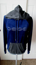 BEBE SPORT Sm Navy Blue & Gray Kangaroo Pocket Soft Velour Hoodie Sweatshirt NEW