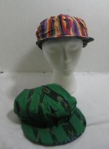 Lot of 2 Flat Bill FlexFit Hats REVERSIBLE Slouch Style Cap Elastic Back L#4 NEW