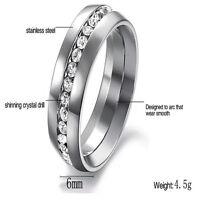 Sz4-15 CZ Couple Stainless Steel Wedding Ring Men/Women Titanium Engagement f
