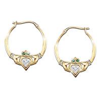 Elegant 18K Gold White Sapphire Ear Hook Dangle Drop Earrings Women Jewelry