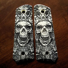 1911 full size custom engraved imitation ivory grips Aztec Skull Mexican