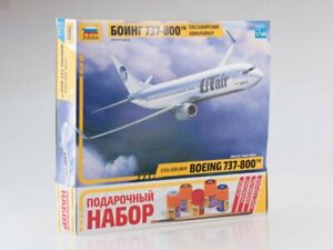1/144 Gift set. Boeing 737-800 passenger airliner with glue, brush (Zvezda)