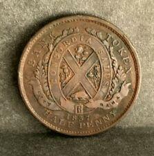 1837 Bank of Montreal 1/2Half  Penny Sou