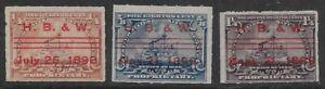 3 HANCE BROS. & WHITE CO. CANCELS RB21 RB23 RB25 1898 Battleship Revenue Stamps