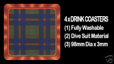4  x  SCOTTISH TARTAN - CLAN - LEATHERNECK - DRINK COASTERS - Re-usable