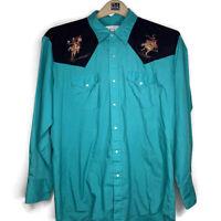 Vtg Monticerutti Western Rodeo Shirt Rockabilly Pearl Snap Mens XL Cowboy Teal