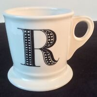 ANTHROPOLOGIE INITIAL R MONOGRAM COFFEE TEA MUG CUP SHAVING STYLE HEAVY 12-14 OZ