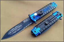 MTECH LED LIGHT BLUE BLACK SPRING ASSISTED TACTICAL KNIFE 4.5 INCH CLOSED