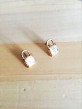 Women's Metallic Lock Stud Earrings Gold Tone Plated Feather Weight